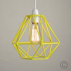 Industrial Style 'Diablo' Wire Frame Polygon Diamond Pendant Shade - Black Shade