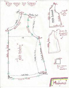 patrones para blusas - Buscar con Google Pattern Cutting, Pattern Making, Dress Sewing Patterns, Clothing Patterns, Sewing Clothes, Diy Clothes, Sewing Hacks, Sewing Tutorials, Sleeves Designs For Dresses