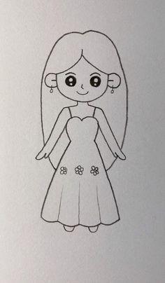 Cute Little Drawings, Easy Drawings For Kids, Drawing For Kids, Cute Drawings, Art Drawings Sketches Simple, Pencil Art Drawings, Kawaii Drawings, Simple Cartoon Drawings, Sketch Art