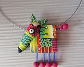 Pendant Dog by Klickart on Etsy Polymer Clay Kunst, Polymer Clay Necklace, Polymer Clay Pendant, Fimo Clay, Polymer Clay Projects, Polymer Clay Beads, Clay Earrings, Textile Jewelry, Fabric Jewelry