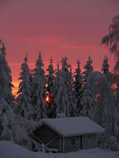 Fiery winter sunset