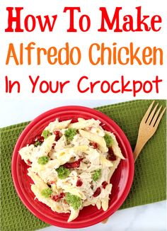 Pasta Dishes Wish Chicken for a Crowd Recipe! Slow Cooker dinner meals for family party ideas! Easy Crockpot Chicken Alfredo Recipe, Easy Pasta Recipes, Easy Chicken Recipes, Easy Dinner Recipes, Fall Recipes, Crockpot Recipes, Easy Meals, Best Comfort Food, Comfort Foods