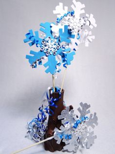 Frozen Party Snowflakes, Winter party decorations, winter party centerpiece on Etsy, $12.50