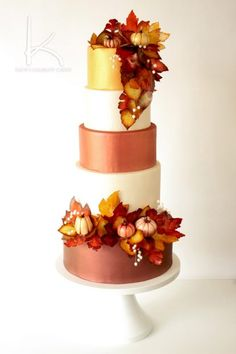 The perfect wedding cake design for the fall featuring warm oranges, reds, golds and browns. Learn how to make this cake and all of it's decor at Kara's Couture Cakes! via /karascakes/ cake decorating ideas Fall Wedding Cakes, Beautiful Wedding Cakes, Gorgeous Cakes, Wedding Cake Designs, Pretty Cakes, Amazing Cakes, Perfect Wedding, Autumn Wedding, Wedding Ideas