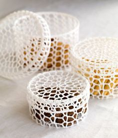 Beautiful crochet trinket boxes