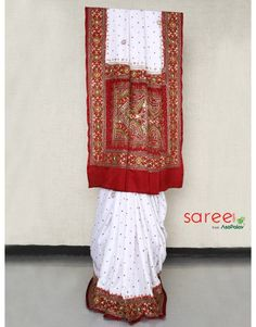 White and Maroon Panetar Saree
