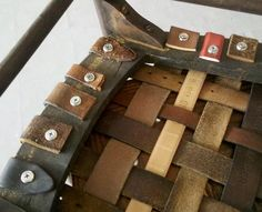 bench seat made with belts | Dishfunctional Designs: Belt It Out! Upcycled  Repurposed Belts
