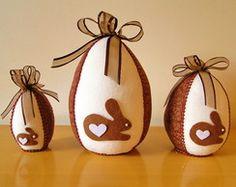 Ovos de Páscoa em Feltro CHOCOLATE