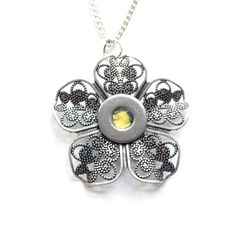 Yellow Filigree Flower Necklace Silver Flower by LoralynDesigns, $24.99