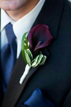Ultra Elegant Boutonniere Of: Plum Calla Lily, Green Variegated Bush Ivy, & Green Beargrass^^^^