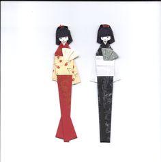Boneca porta-hashi e marcador de páginas em origami