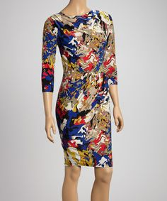 Take a look at this Blue & Yellow Abstract Ruched Sheath Dress on zulily today!