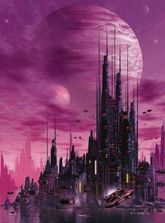 15 Astoundingly Beautiful Sci-Fi Images - Listverse of animation art Online painting futurism fi fi environment fiction art Ville Cyberpunk, Art Cyberpunk, Fantasy Art Landscapes, Fantasy Landscape, Futuristic City, Futuristic Architecture, Fantasy City, Sci Fi Fantasy, Dark Fantasy
