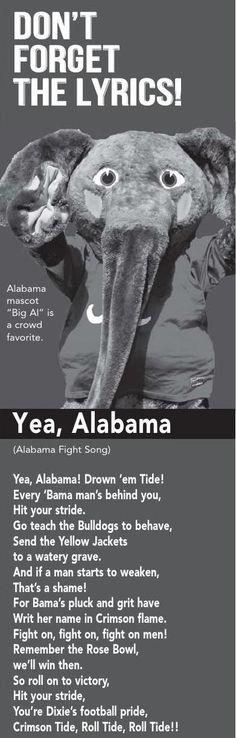 Lyrics to Alabama's Fight Song,