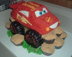 Combination monster truck and lightening mcqueen;-) with rock (boulder) cupcakes;-)