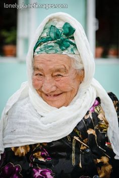 Portrait of 98 year old Uzbek woman. Samarkand, Uzbekistan, Central Asia.Слънчева... She just makes me smile!