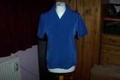 Plain Blue Workwear Blouse Top Shirt by Alexandra UK 12 - Badge Area