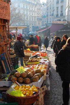 Rue Mouffetard market in the Latin Quarter, Paris;