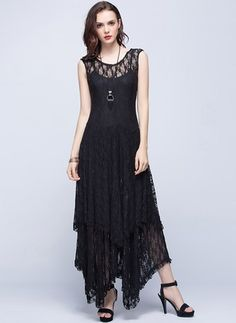 Lace Solid Sleeveless Maxi Casual Dresses