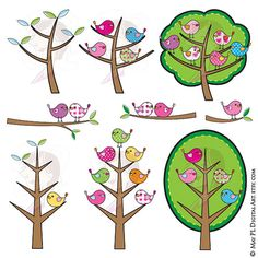 Birds Tree Clipart Digital Clip Art Cute Birds Pink Blue Green Yellow Colors Scrapbook Craft Supply Cardmaking Teacher Graphics 10058 #Birds #Tree #Clipart