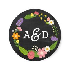 Rustic Whimsical Floral Wreath Chalkboard Monogram Stickers