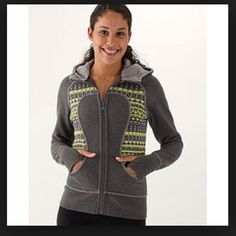Lululemon scuba hoodie special edition Lululemon lulujacquard stripe special edition scuba hoodie in grey and green. Very hard to find. Some signs of wear on the inside but outside is in great condition. TRADE VALUE $185 lululemon athletica Jackets & Coats