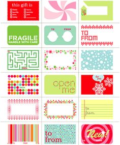 Links to tons & tons of printable gift tags!  Way more than what's in the thumbnail pic- there is some really awesome ones!