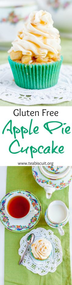 Delicious Gluten Free Apple Pie Cupcakes with Caramel Topping | www.teabiscuit.org
