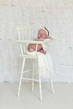This highchair reminds me of mine as a little one. Love an antique wooden highchair.