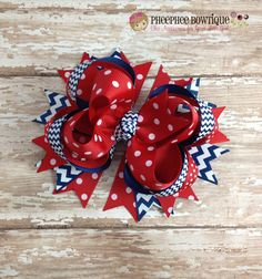 Navy Chevron and Red Dots Hair Bow Nautical by PheePheeBowtique