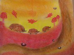 hedgehog pastel drawn by 4th grader