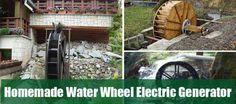 Homemade Water Wheel Electric Generator - Homesteading - The Homestead Survival . Water Wheel Generator, Diy Generator, Power Generator, Water Powers, Water Mill, Homestead Survival, Urban Survival, France, Le Moulin