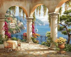 A beautiful, sunny scene awaits you in the Terrace Arch II Wallpaper Mural by Sung Kim. Patio chairs and a table sit on a cobblestone terrace overlooking the Mediterranean Sea. Belle Image Nature, Pintura Exterior, Murals Your Way, Tuscan Design, Tuscan Style, Mediterranean Home Decor, Tile Murals, Decorative Tile, Beautiful Paintings