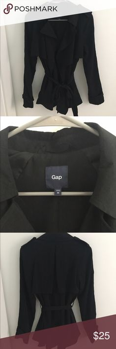 Gap Trench Coat Never been worn, super cute Gap trench coat jacket. Not super stiff like most trench coats and closer to the length of a jacket making it the perfect crossover between the two! GAP Jackets & Coats Trench Coats