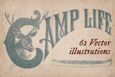 62 vintage outdoors illustrations by Mr Vintage on Creative Market