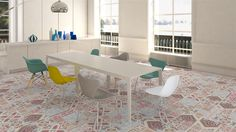 Gamma Due tiles on the floor of this kitchen, virtual image, rendered with DomuS3D and mental ray
