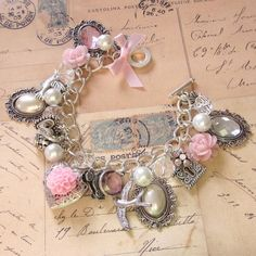 sweet pink and silver charm bracelet ❤