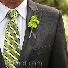 Real Weddings - A Modern Ranch Wedding in Austin, TX - Green Mum Boutonniere Groomsmen Boutonniere, Groom And Groomsmen, Wedding Boutonniere, Boutonnieres, Prom Flowers, Wedding Flowers, Gray Weddings, Groom Attire, Bridal Bouquets