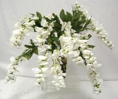 OFF WHITE Wisteria Hanging Flower Bush Silk Wedding Flowers Plant Centerpiece