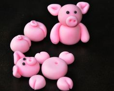 Edible Fondant Pigs Cake Toppers for Swimming by YourFantasyCakes, $18.95