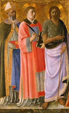 Strozzi, Zanobi    Italian, Florentine, 1412-1468  Sts. Nicholas, Lawrence, and John the Baptist, ca. 1450  Tempera and gold leaf on panel, 30 x 18 5/8 x 1 5/16 in.  The Hyde Collection, Glens Falls, New York, 1971.29  Photograph by Joseph Levy