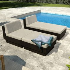 CorLiving Park Terrace Textured Chaise Lounge 4 pc. Set with Cushions : tommy bahama chaise lounge - Sectionals, Sofas & Couches