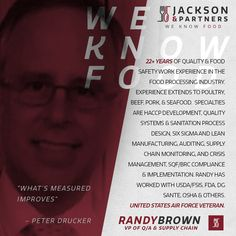 Meet Jackson & Partner's All-Star Roster - Randy Brown, VP of QA & Supply Chain; Randy is looking forward to leading the charge to make sure our Suppliers, Partners and J&P produces quality products for our customers and is looking forward to being challenged by our MVP, Most Value Partners. #LegendaryPlayerComesLegendaryProducts #RespectAllFearNone #Team Whether it be production or sales, the food industry is such a great place to work because you get to partner with so many diverse people…