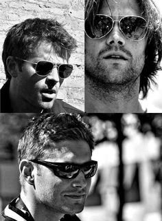 Misha Collins, Jensen Ackles and Jared Padalecki with sunglasses. Oh, I think I burned myself from the hotness.