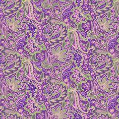 Cotton Paisley Fabric, Purple