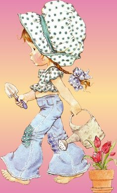 VAN A ARREGLAR EL JARDÍN, CON LA PALA Y LA REGADERA. Vintage Pictures, Cute Pictures, Susan Wheeler, Sara Kay, Retro, Holly Hobbie, Cute Illustration, Vintage Cards, Cute Kids