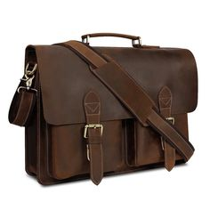 Urban Dark Brown Convertible Organizer Leather Laptop Briefcase for Men  with Adjustable Strap. Vintage Leather Messenger BagLeather ... a542936e10