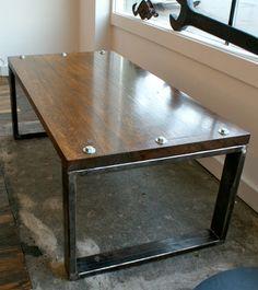 Reclaimed Industrial Coffee Table   Steel, Oak, Heavy Bolts