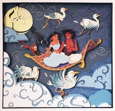 Disney Aladdin Paper Art: A Whole New World - Handmade Illustration of Aladdin and Princess Jasmine on the Magic Carpet with Abu and Genie! 3d Paper Art, 3d Paper Crafts, Paper Artwork, Disney Tattoos, Arte Disney, Disney Art, Paper Cutting, Princesa Jasmine, Papier Diy