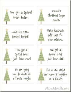 Printable Advent Ideas/Lables-great ideas on things to do with the family as an Advent calendar.